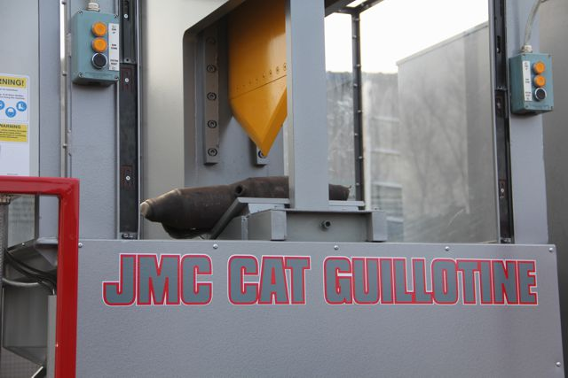 JMC Catalytic converter guillotine showing close up of shear blade