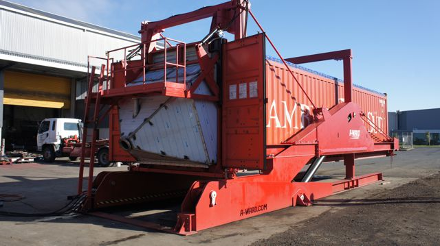 A-Ward container loader tilter used to load 20 foot and 40 foot containers