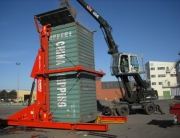 A-Ward container loader tilted to 90 degrees