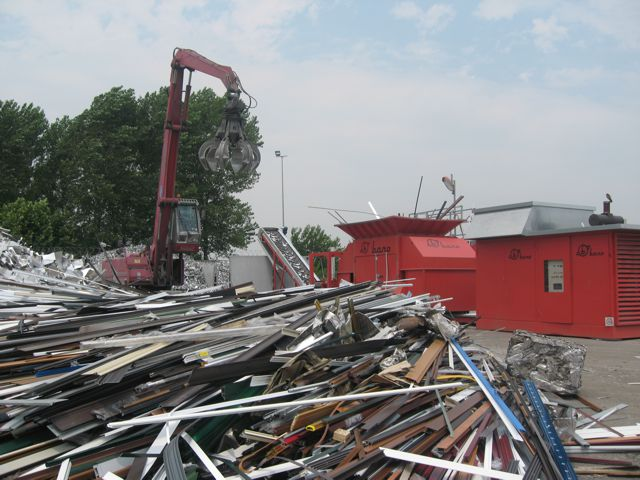 Bano industrial shredder in a waste recycling yard