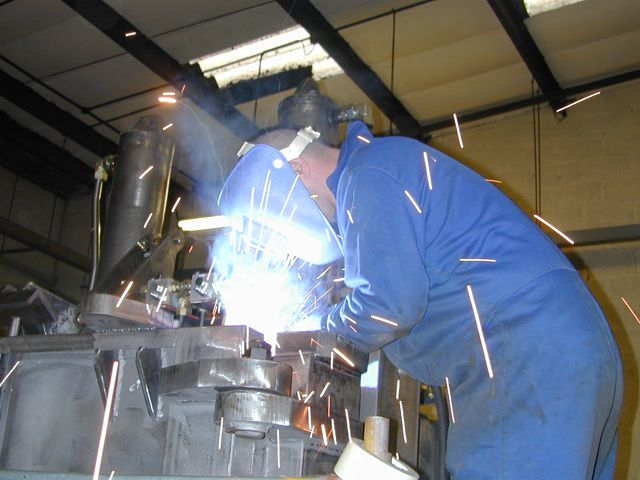 Welder at work at McIntyre/JMC recycling