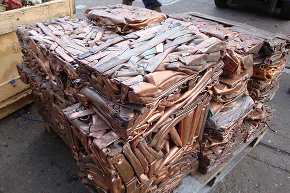 Bales of copper ready for recycling