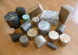 Briquettes of mixed materials from a Hocker briquetter