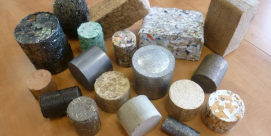 Briquettes of mixed materials from a Hocker briquetter