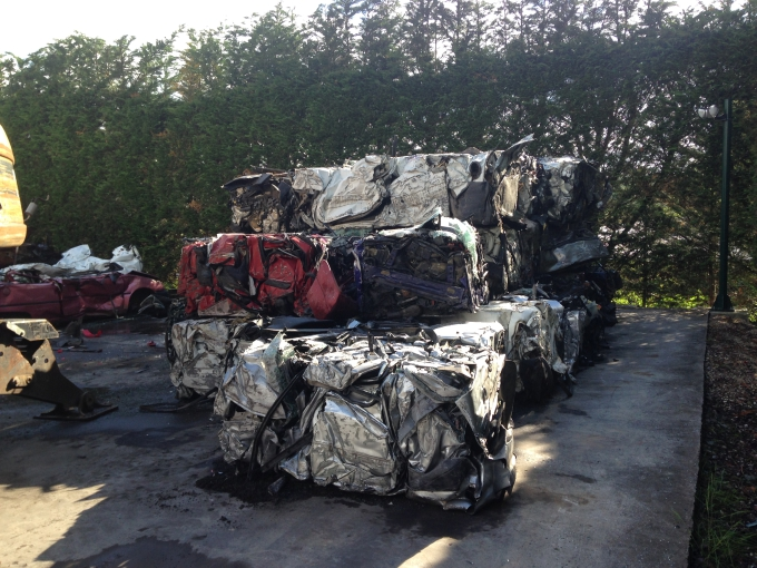 Car bales from a Roter car baler